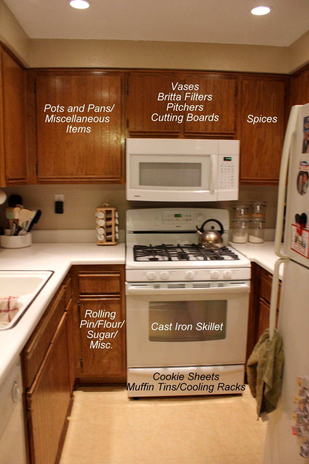 Near To Nothing Small Kitchen Organization - Where to put things in kitchen cabinets