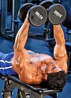Lying fly and incline fly exercises with dumbbells for chest 1