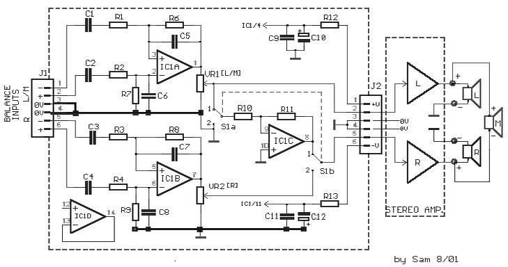 stereo to mono  bridge  converter