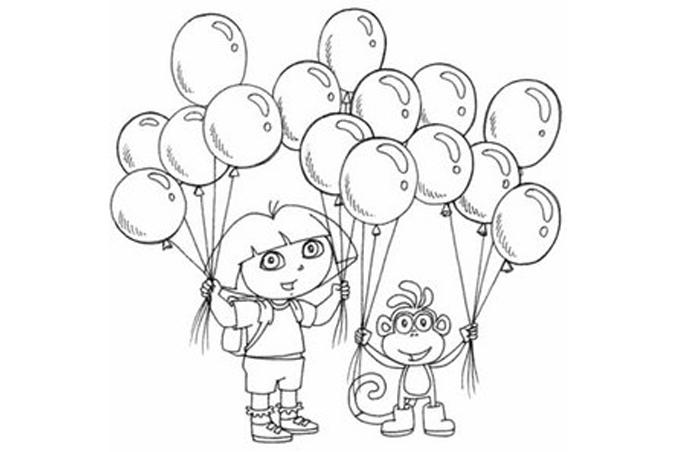 صورة طفل لتلوين الاطفال يحمل مجموعة من البالونات