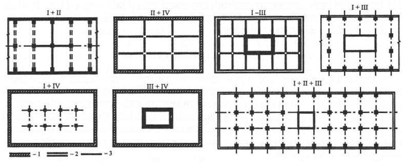 Пилоно-каркасные конструктивные системы каркасного несущего остова