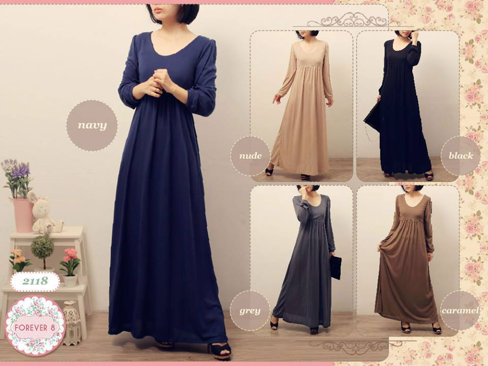 Long dress bahan korea