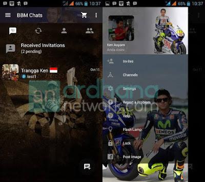 Blackberry application change volition portion a cool display the background alongside the them Download MOD BBM Valentino Rossi 46 V2.10.0.31