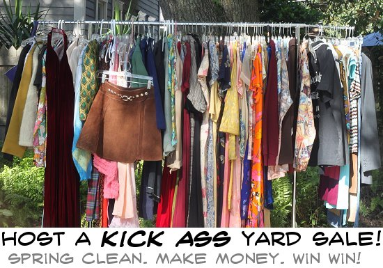 Garage Sale Tips: Host a Kick Garage Sale and Make That Money on homemade round clothes rack for garage sale, ghetto garage sale, yard sale, ideas for garage to hang clothes on sale,