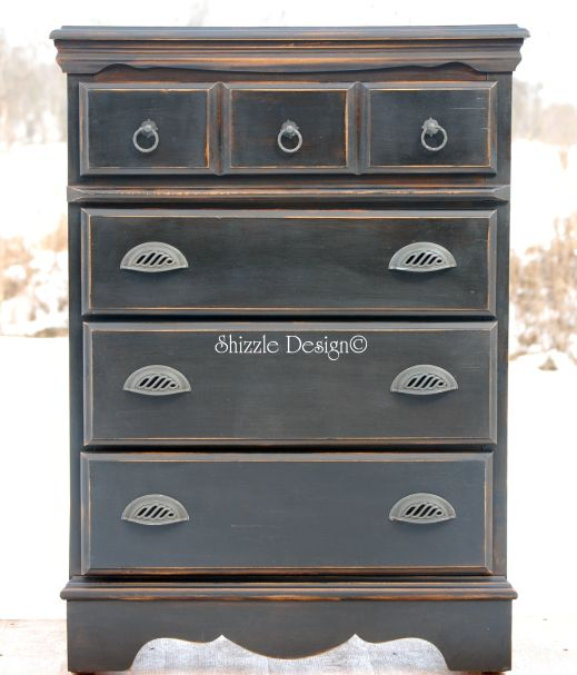 Shizzle Design Tall Black Dresser With Pottery Barn Appeal