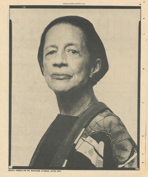 Diana Vreeland photographed by Richard Avedon, June 1977, Rolling Stone Magazine
