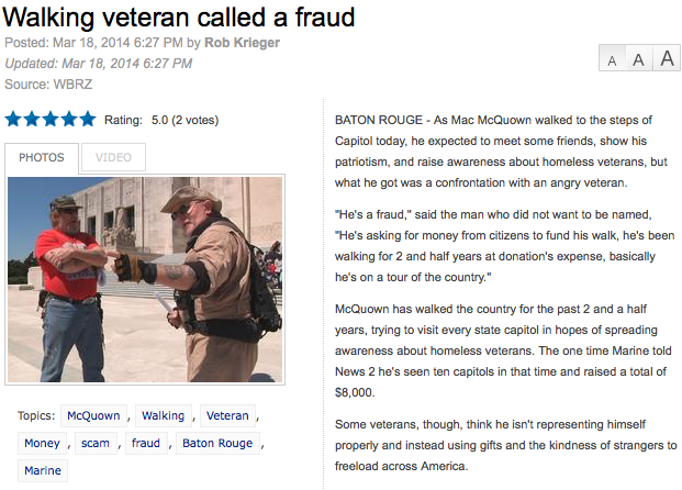Walking Veteran Called Fraud