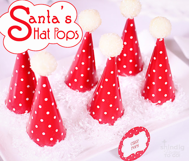 Santa's Hat Pops!! So cute and easy to make. A delicious Lindt truffle with a lollipop stick, wrapped in heavy cardstock to make cute decor and treats!