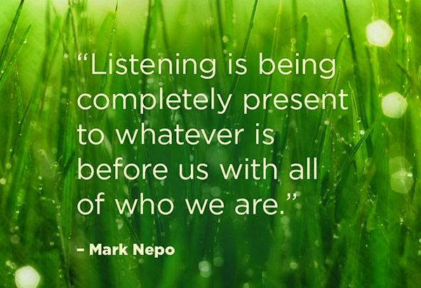 """Listening is being completely present to whatever is before us with all of who we are."" ~ Mark Nepo Picture of green grass with dew on it."
