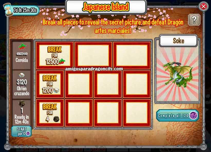 imagen de las tareas del soke de la isla dojo de dragon city de facebook