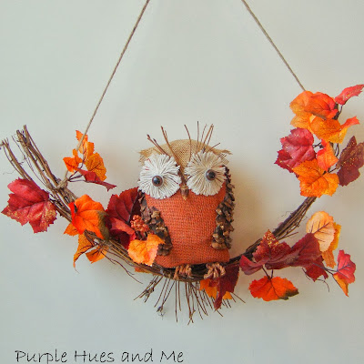 Burlap and pinecone Owl using a recycled plastic bottle