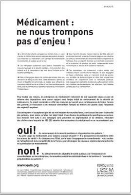 campagne pqr 2011 leem médicaments ne nous trompons pas d'enjeu