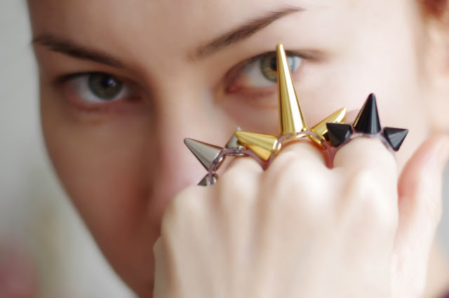 Spiked statement rings designed by Xenia Kuhn.