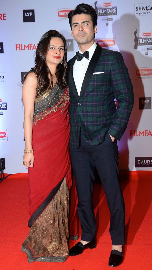 Fawad Khan with his wife at Filmfare Awards 2016, Filmfare awards 2016 best dressed