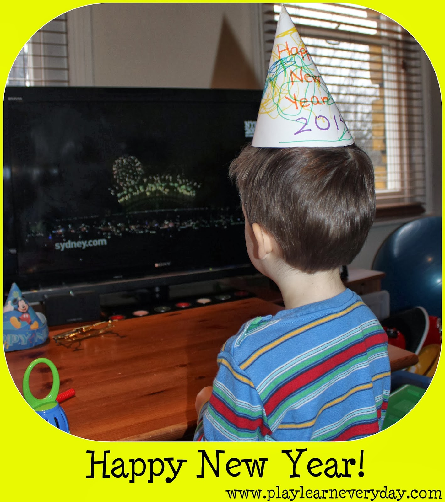 ethan was so excited hes been saying happy new year all day and couldnt wait to see the fireworks we decorated his hat together before lunch
