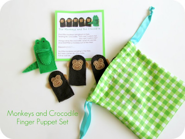 Monkeys and Crocodile free finger puppet pattern and printable song