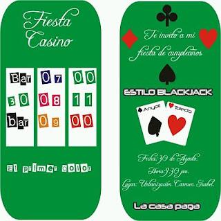 Tarjetas para Fiestas de 15 Años, Estilo Casino