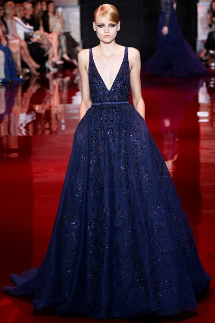 Model wearing a blue Elie Saab haute couture gown