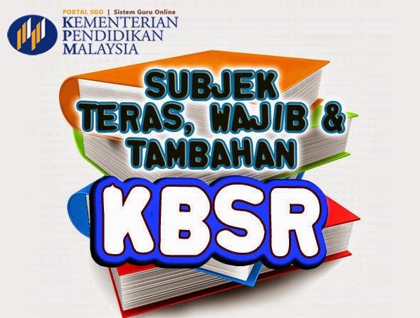 Senarai Subjek Teras, Wajib & Tambahan KBSR