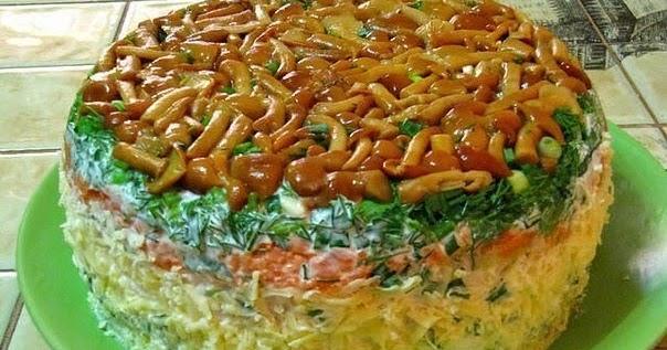 Грибная поляна салат рецепт с плавленным сыром