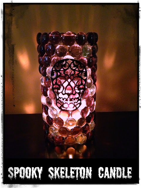 Spooky Skeleton Glass Gem Candle Holder by Crafty In Crosby
