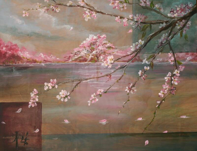 Art wall decor 2011 05 15 for Cherry blossom mural works