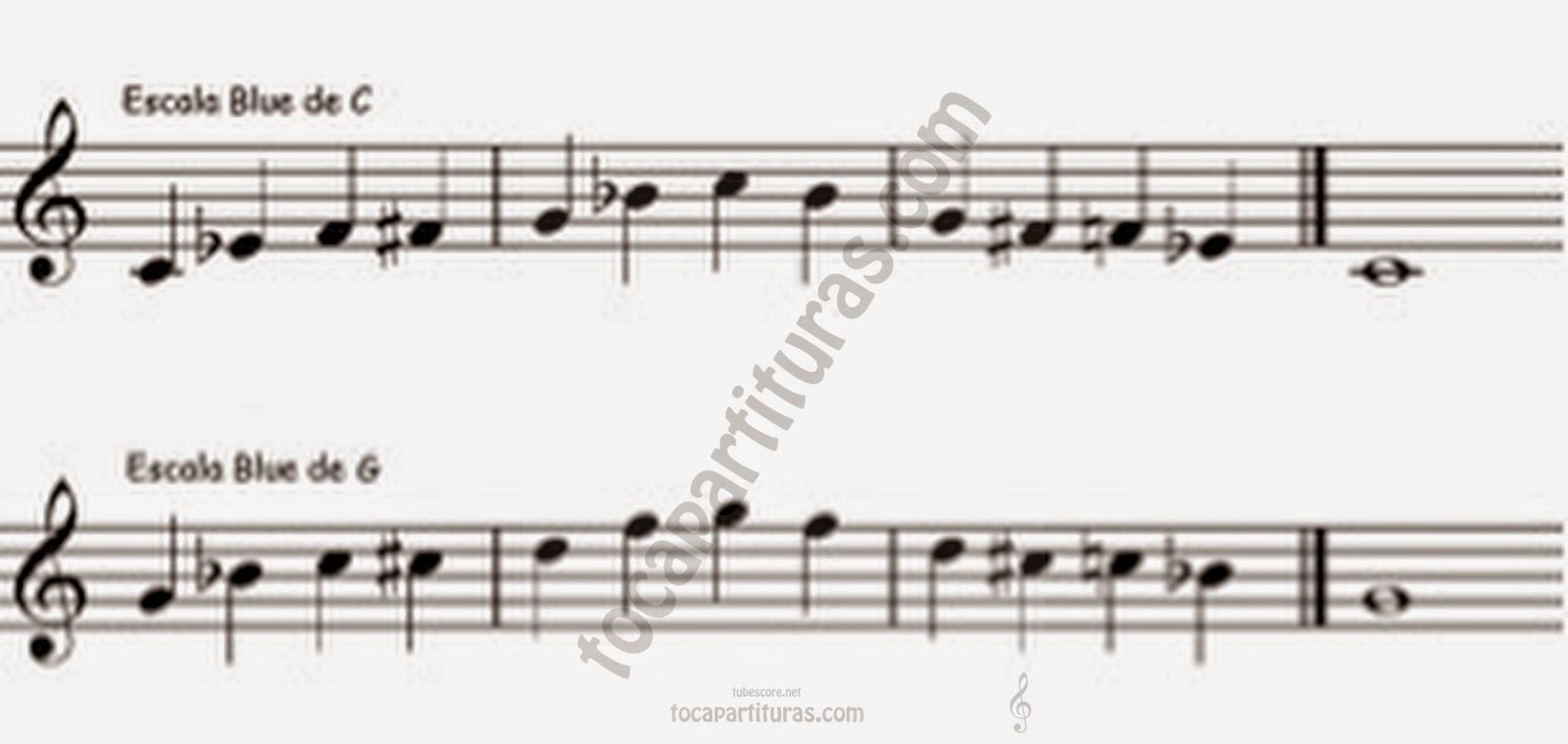 Escala Blues tocapartituras.com Do y Sol