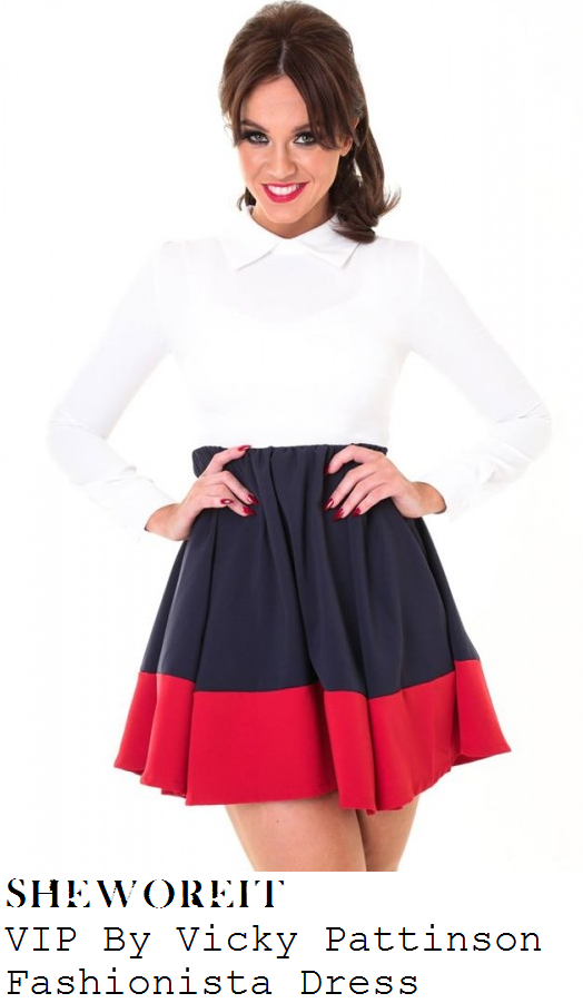 vicky-pattison-white-navy-blue-red-long-sleeve-collared-colour-block-skater-dress