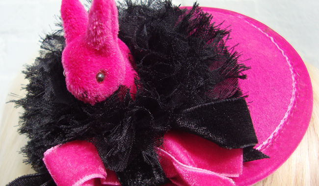 jazzafine, bunny fascinator, pink bunny hat