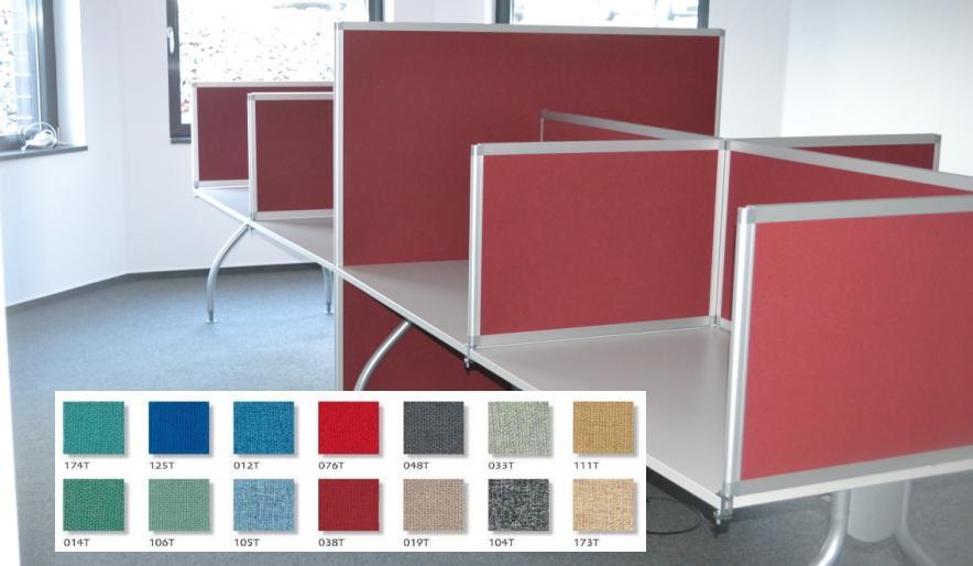 colour up your office auftischw nde und l rmschutzwand f r ihre b rotische. Black Bedroom Furniture Sets. Home Design Ideas