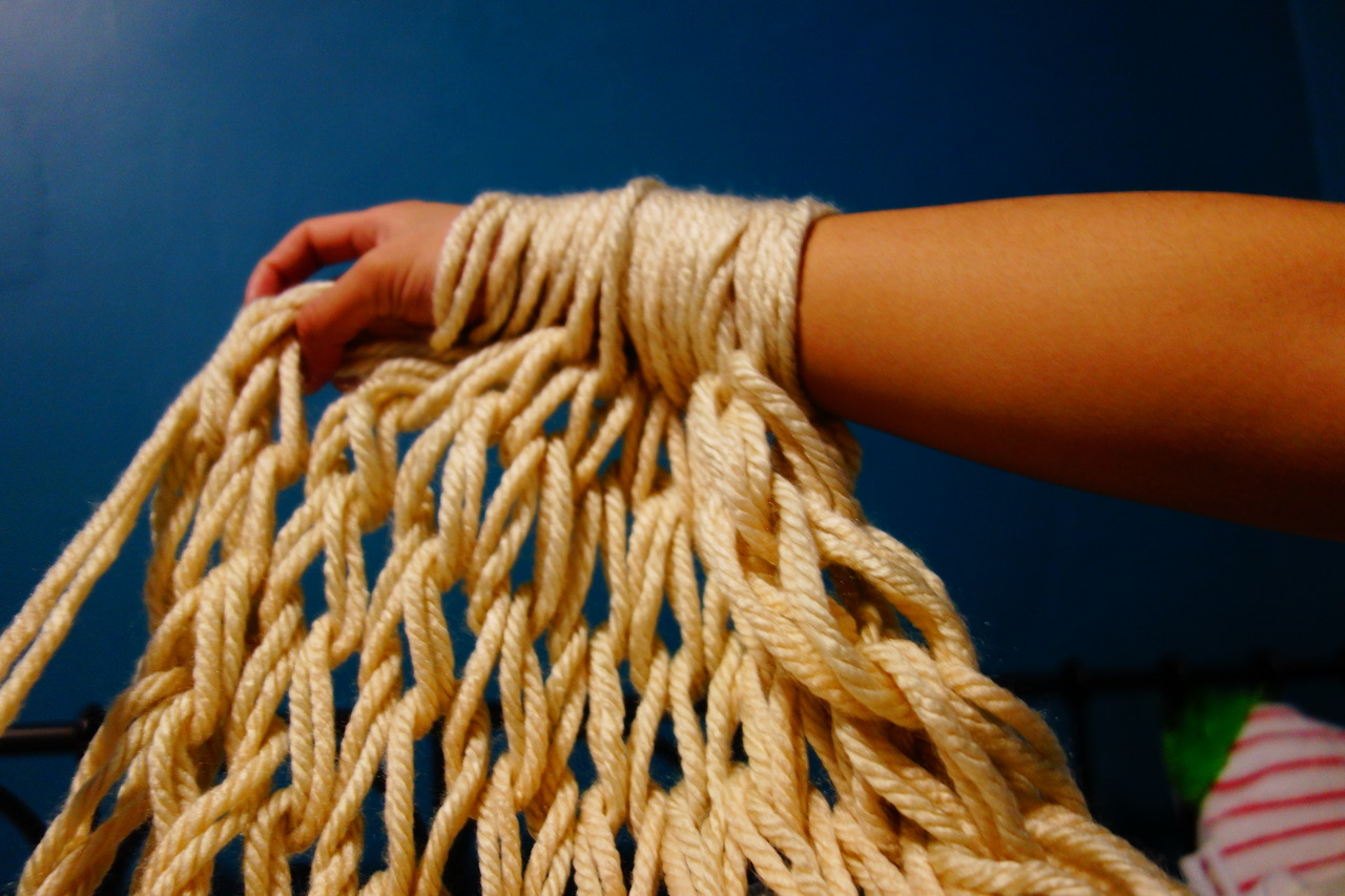 Knitting Using Your Arms As Needles : Heartfully creating needle less knitting with your hands