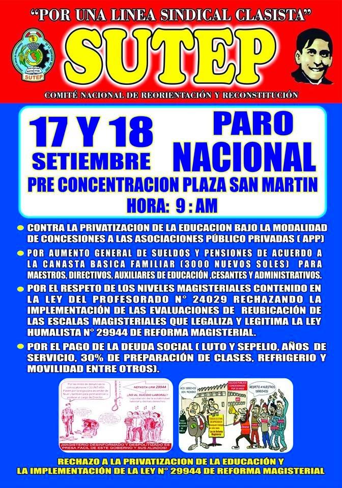 DECRETO DE PARO NACIONAL DEL 17 Y 18 DE SETIEMBRE