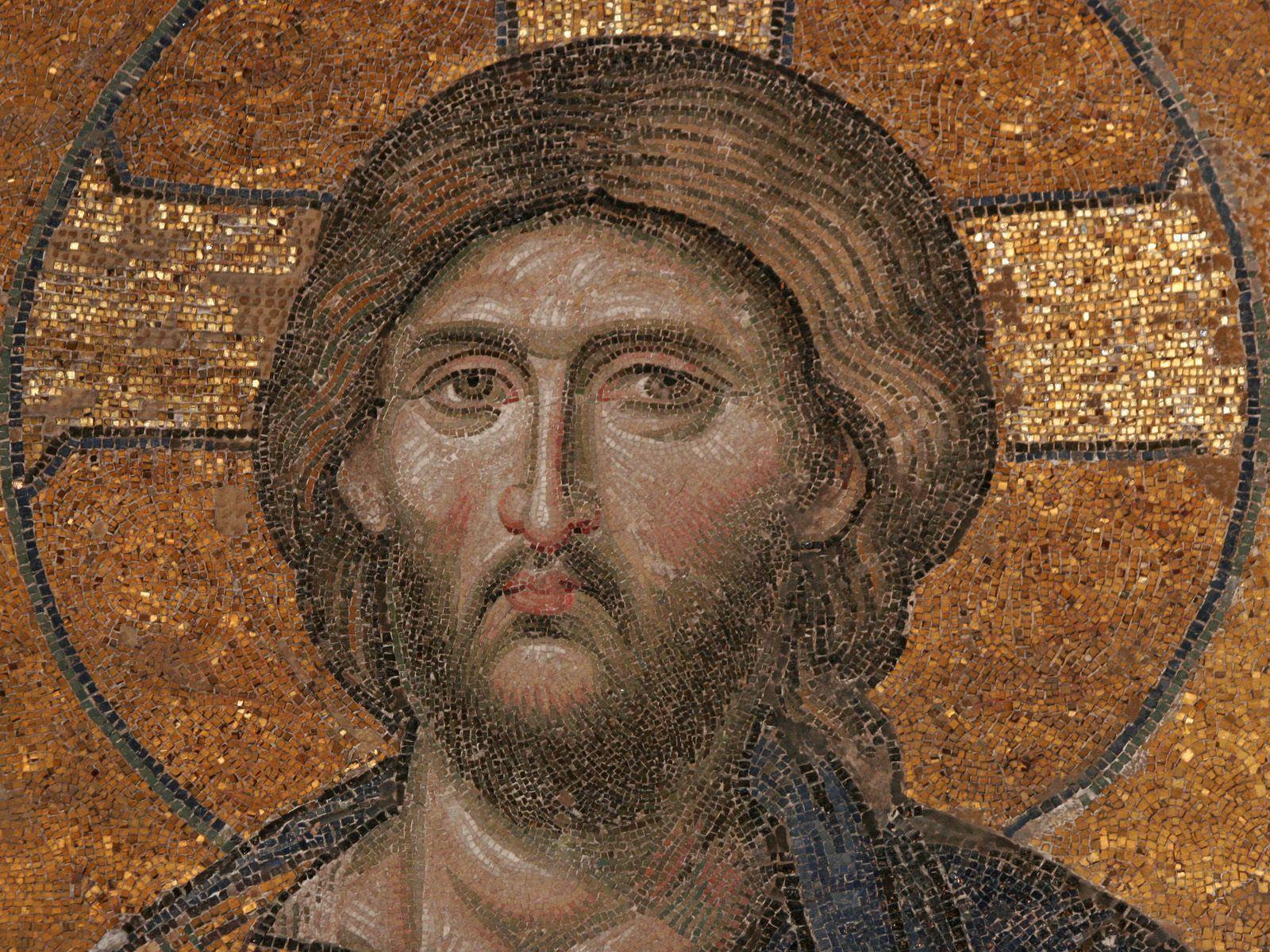 Christ, detail from the 13th Century Deesis Mosaic in St Sophia dans images sacrée deesis-mosaic-of-christ-13th-century-hagia-sophia