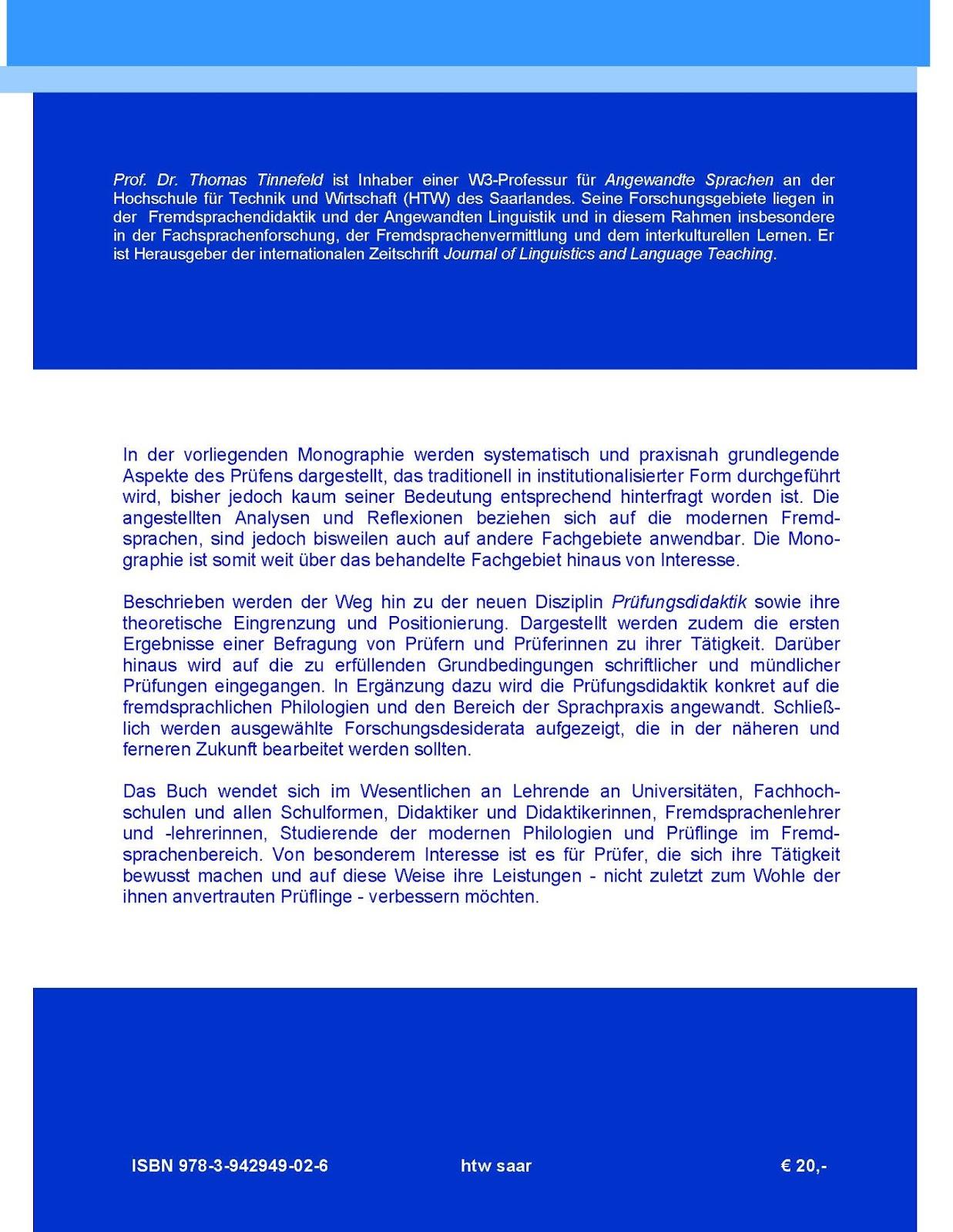 Thomas Tinnefeld: Dimensionen der Prüfungsdidaktik