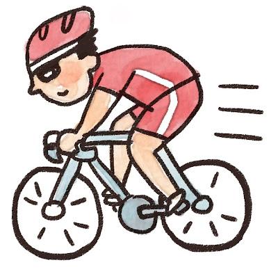 ロードバイクに乗っている選手のイラスト(スポーツ)