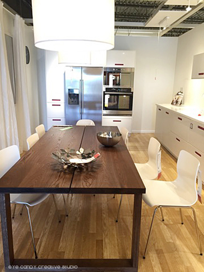 wood dining table, dining chairs, white cabinets, dining area ideas at IKEA