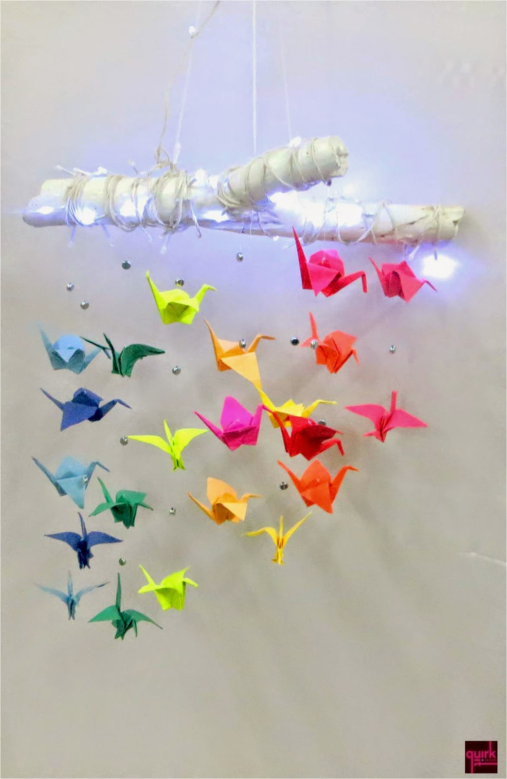 Quirk It Design_F-light of Cranes__Colorful origami cranes suspended from a lit-up wooden _DIY_Upcycle_Quirky_Home_Decor