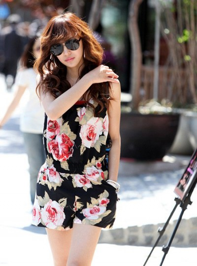 Korean Fashion 2010 Baju Terusan Celana Pendek Motif Bunga Jendela Korea