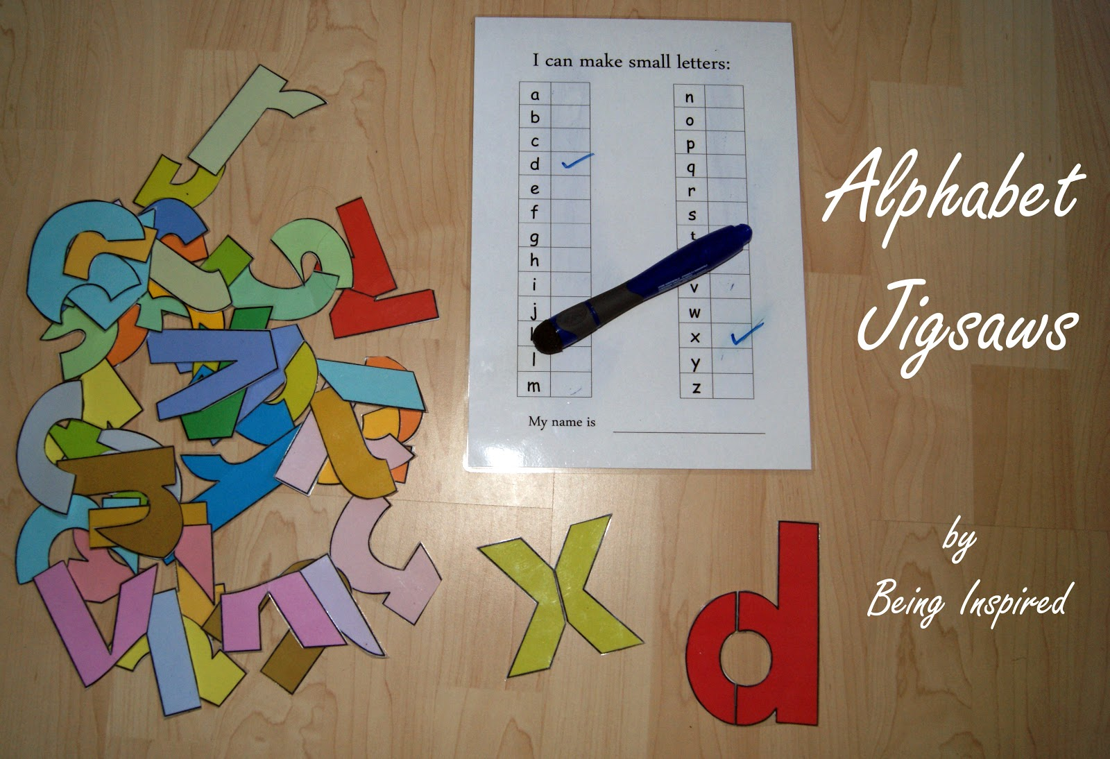 being inspired alphabet jigsaw puzzles