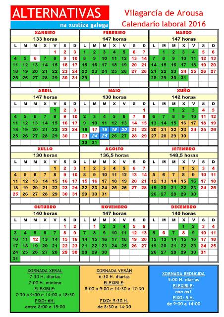 Vilagarcía. Calendario laboral 2016