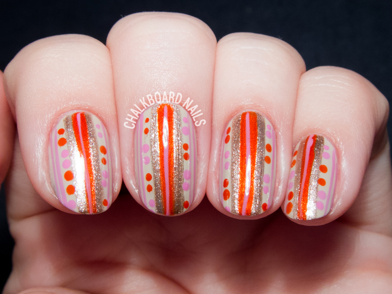 Vintage Striped Wallpaper With China Glaze Desert Escape