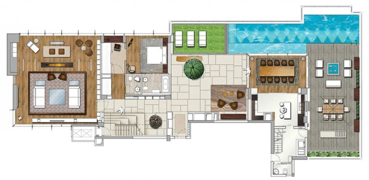 Lower floor plan of Modern apartment in Shenzhen by Kokai Studio