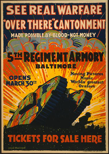 movies, theater, advertising, vintage, vintage posters, retro prints, classic posters, graphic design, free download, See Real Warfare, Over There Cantonment, 5th Regiment Armory Baltimore - Vintage Advertising Poster