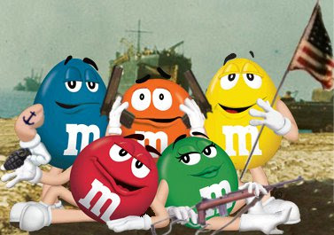 The M&M's fight for America in World War 2. I think Orange may have PTSD, though.