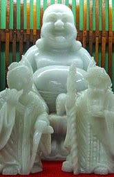 Fat white laughing Buddha