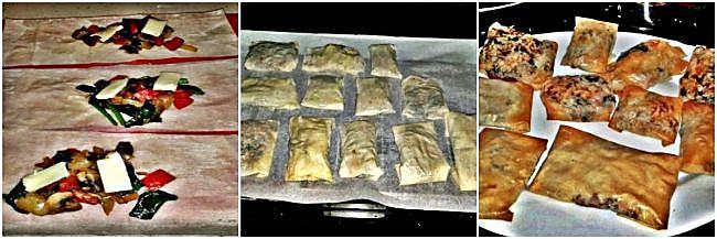 Preparación de la pasta filo con relleno vegetariano