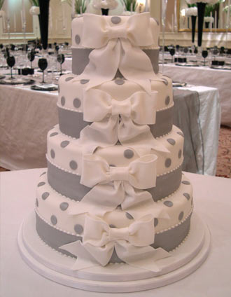 Four Tier Silver Polka Wedding Cake by Maisie Fantaisie