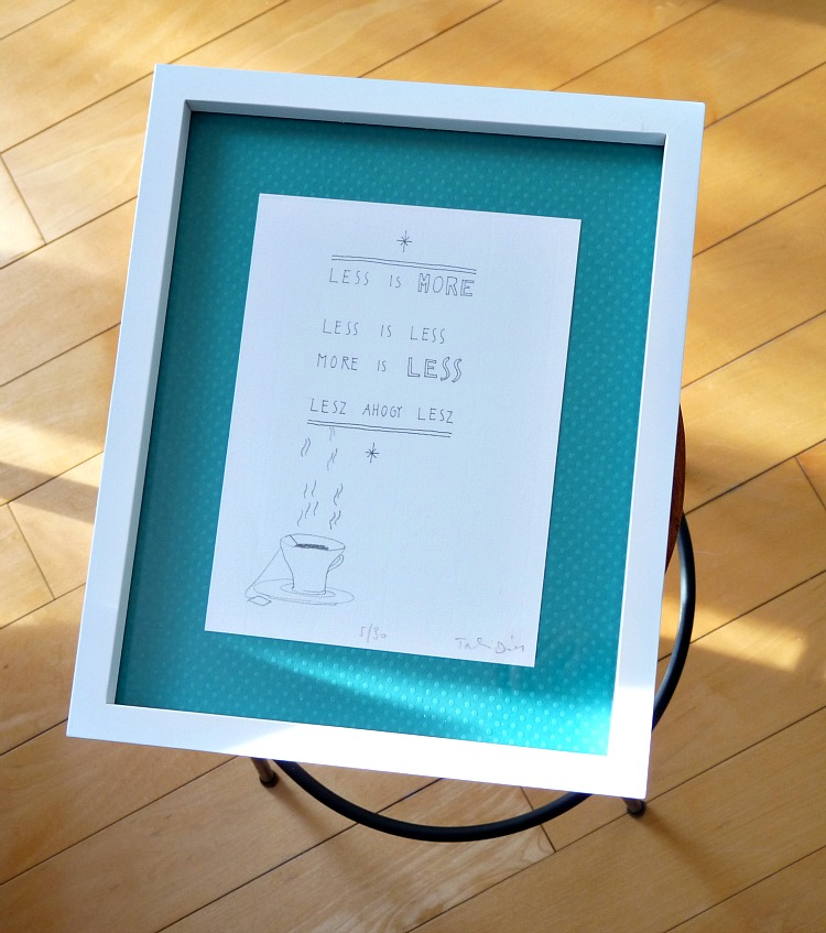 White floating frame; use scrapbook paper for mat