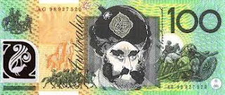 An Australian $100 bill, appropriately changed!