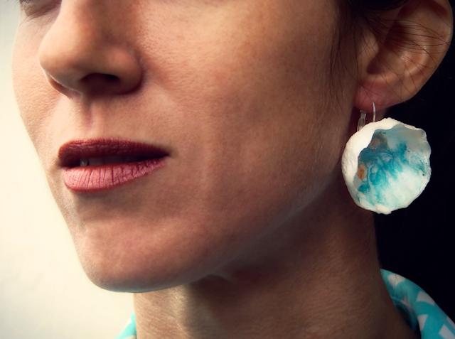 orecchini maxi fatti a mano, corti ,  turchese oro